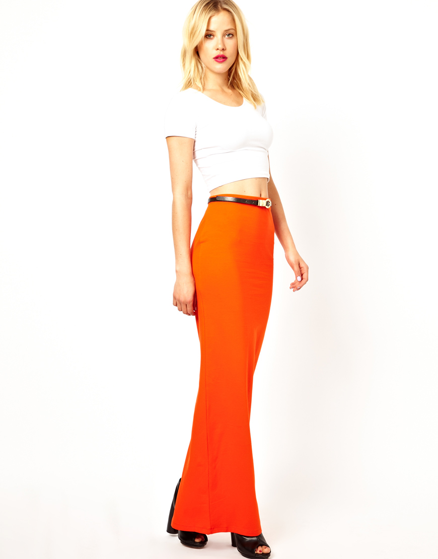 Asos Maxi Skirt in Orange | Lyst