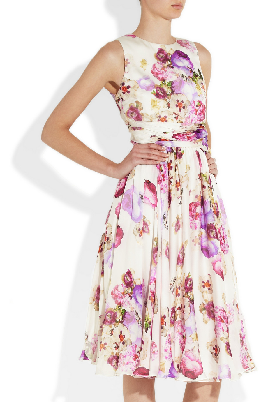 Giambattista Valli Floral Print Silk Chiffon Dress In
