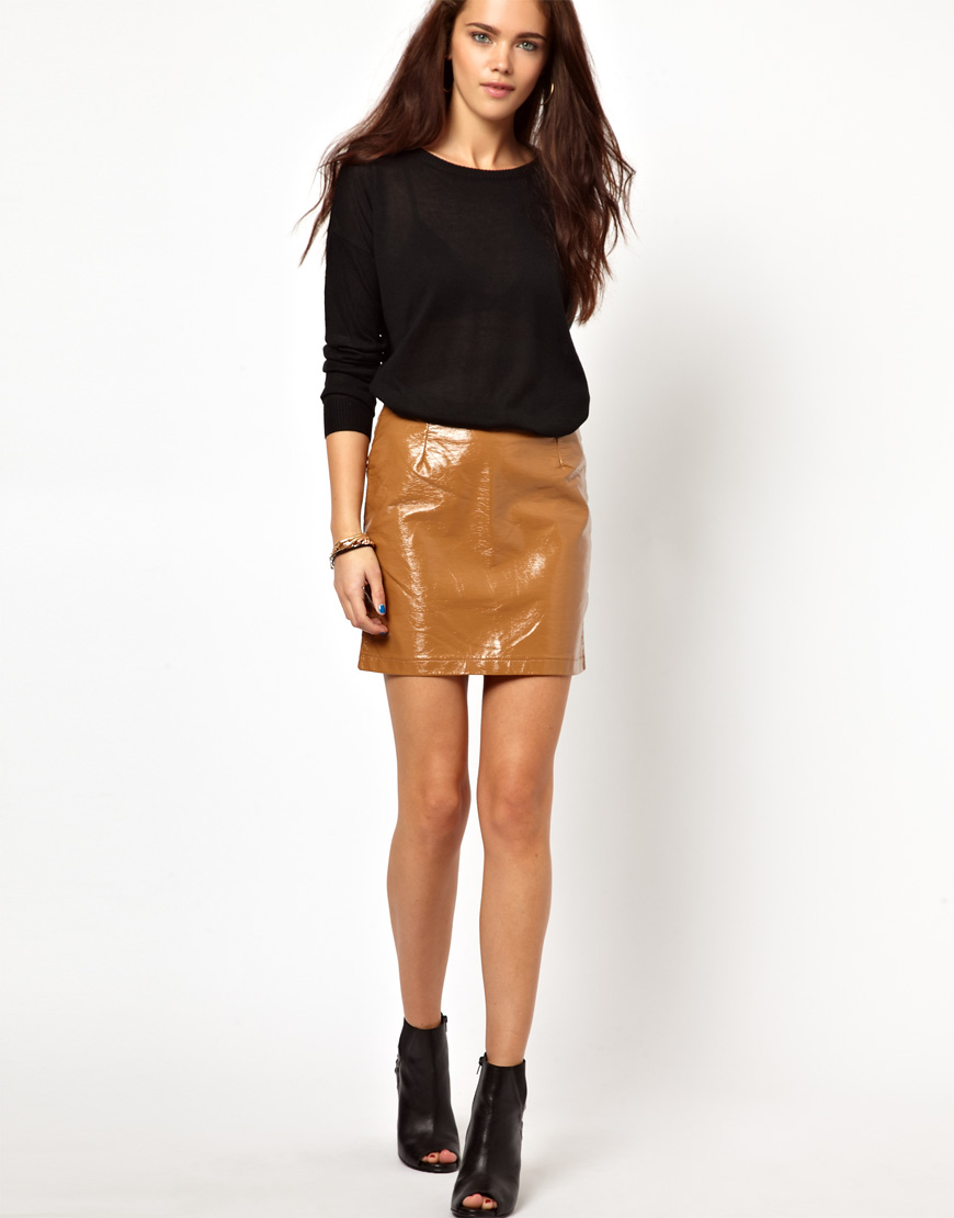 Asos Glamorous Pu Mini Skirt in Patent Faux Leather in Natural | Lyst