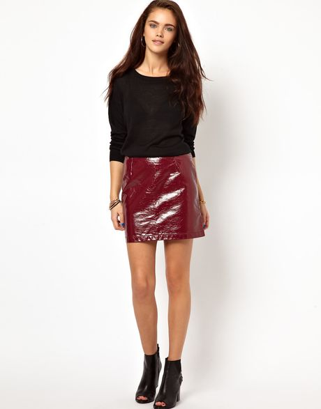 glamorous pu mini skirt in patent faux leather in