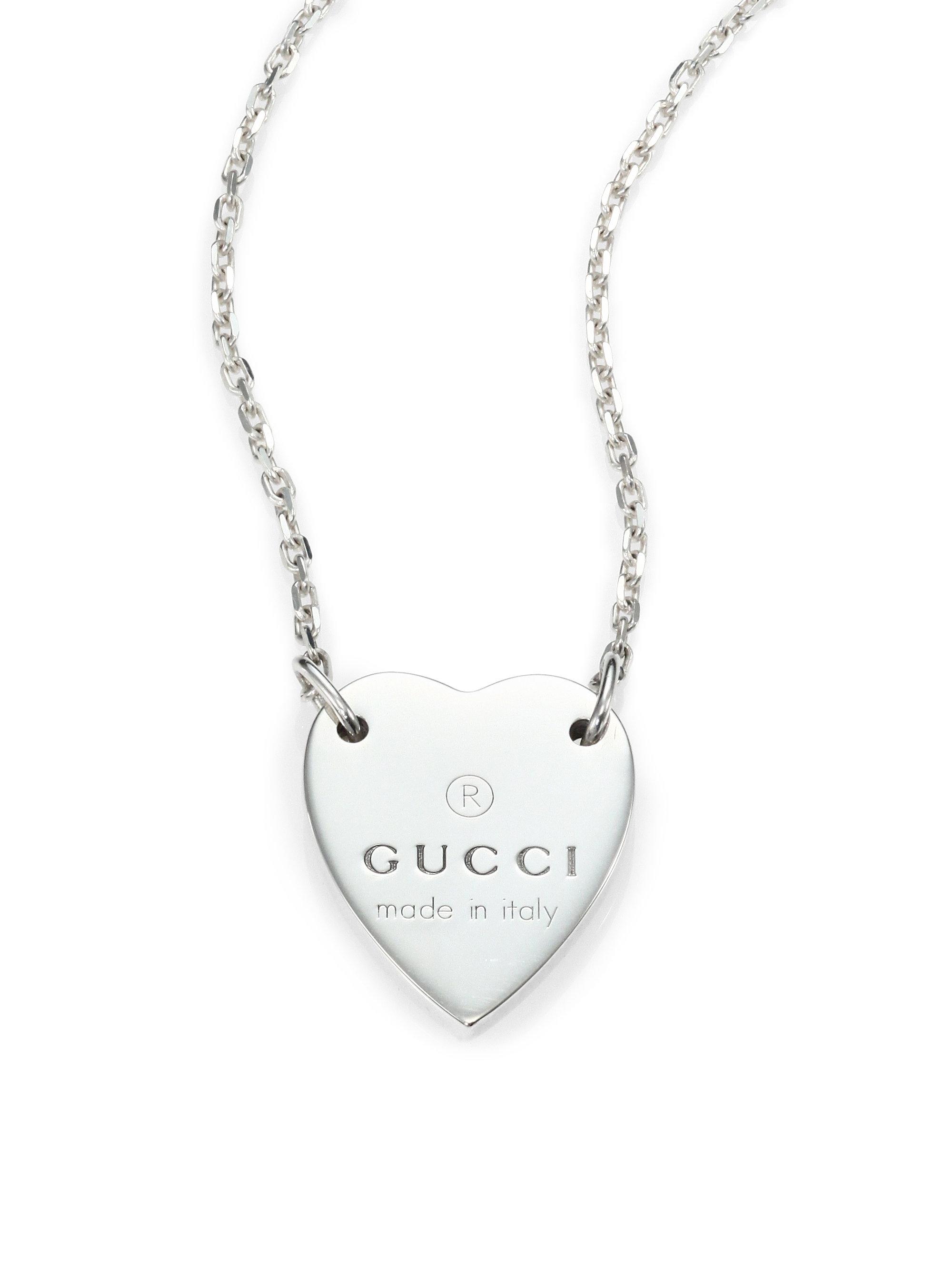 Gucci Sterling Silver Signature Heart Pendant Necklace In