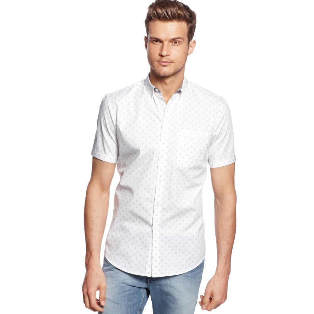Inc International Concepts Short Sleeve Slim Fit Polka Dot