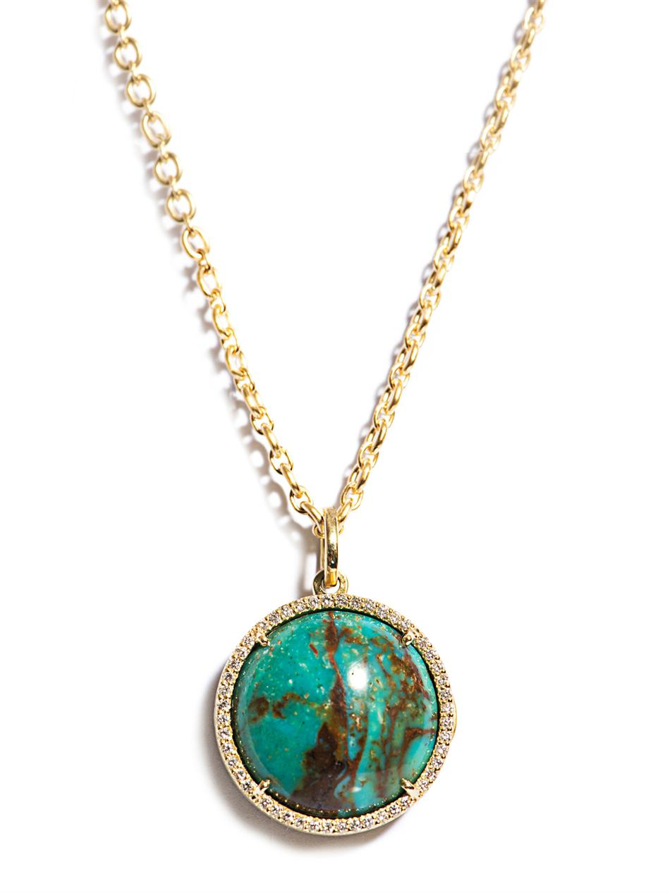 Lyst irene neuwirth diamond turquoise gold pendant necklace in gallery audiocablefo