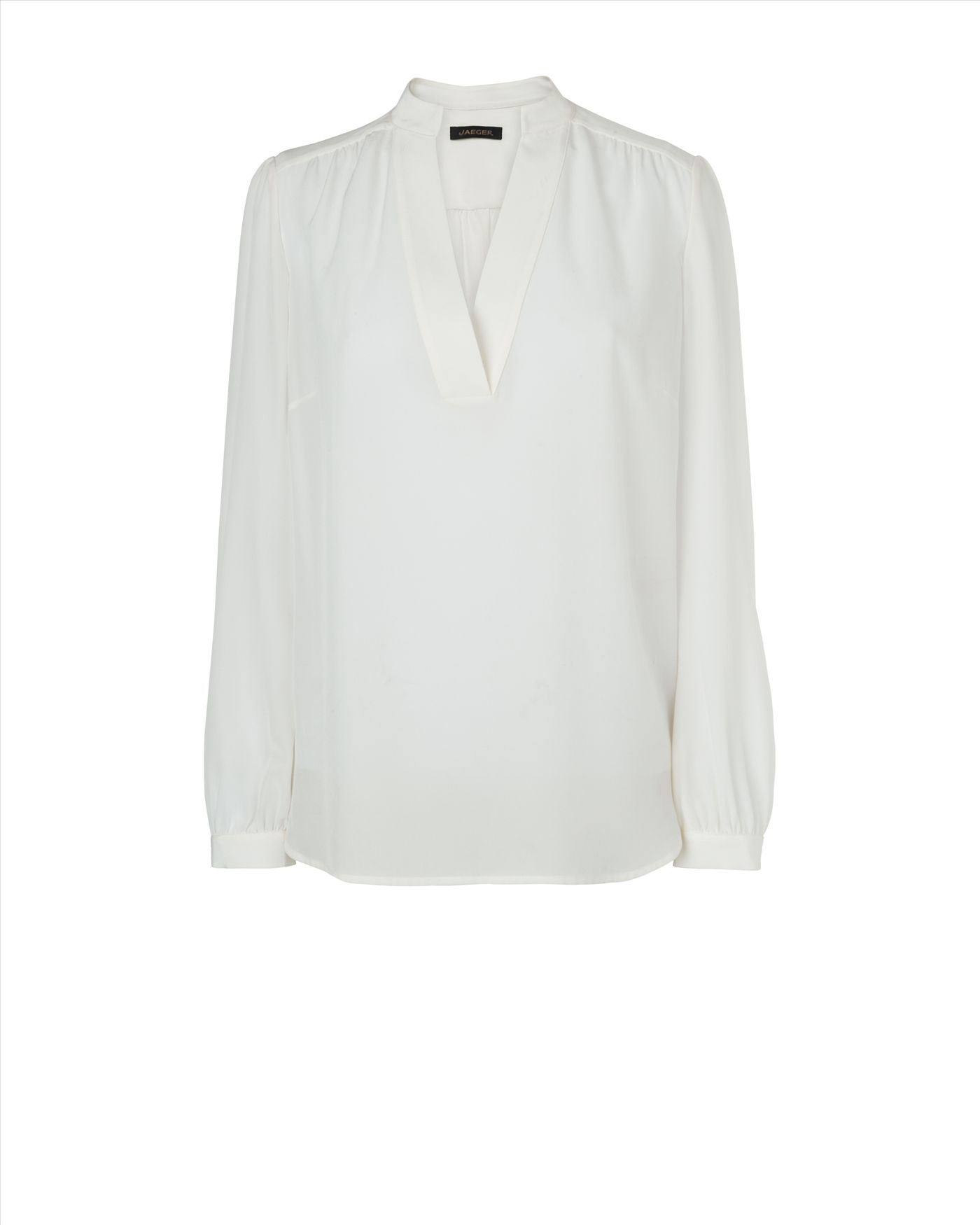 Stand Neck Blouse Designs : Jaeger v neck stand collar blouse in white ivory lyst