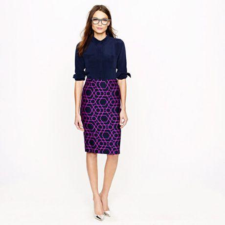 j crew no 2 pencil skirt in geometric print in purple lyst