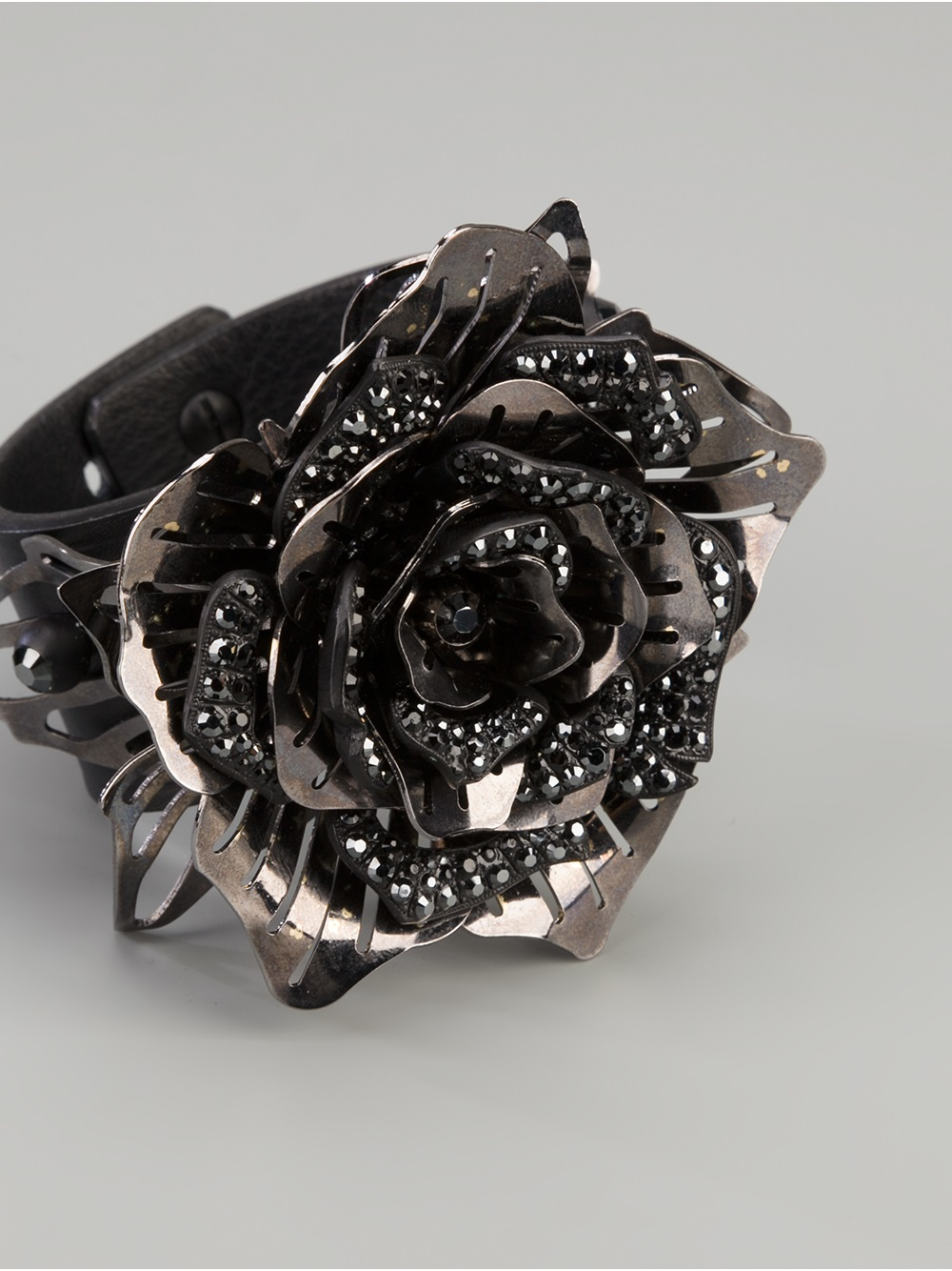 Lanvin Crystal Embellished Flower Ring in Black