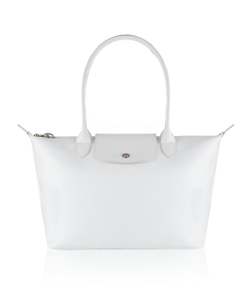 7cf07a4e7419 Longchamp Le Pliage Veau Foulonne Large Bag in White - Lyst