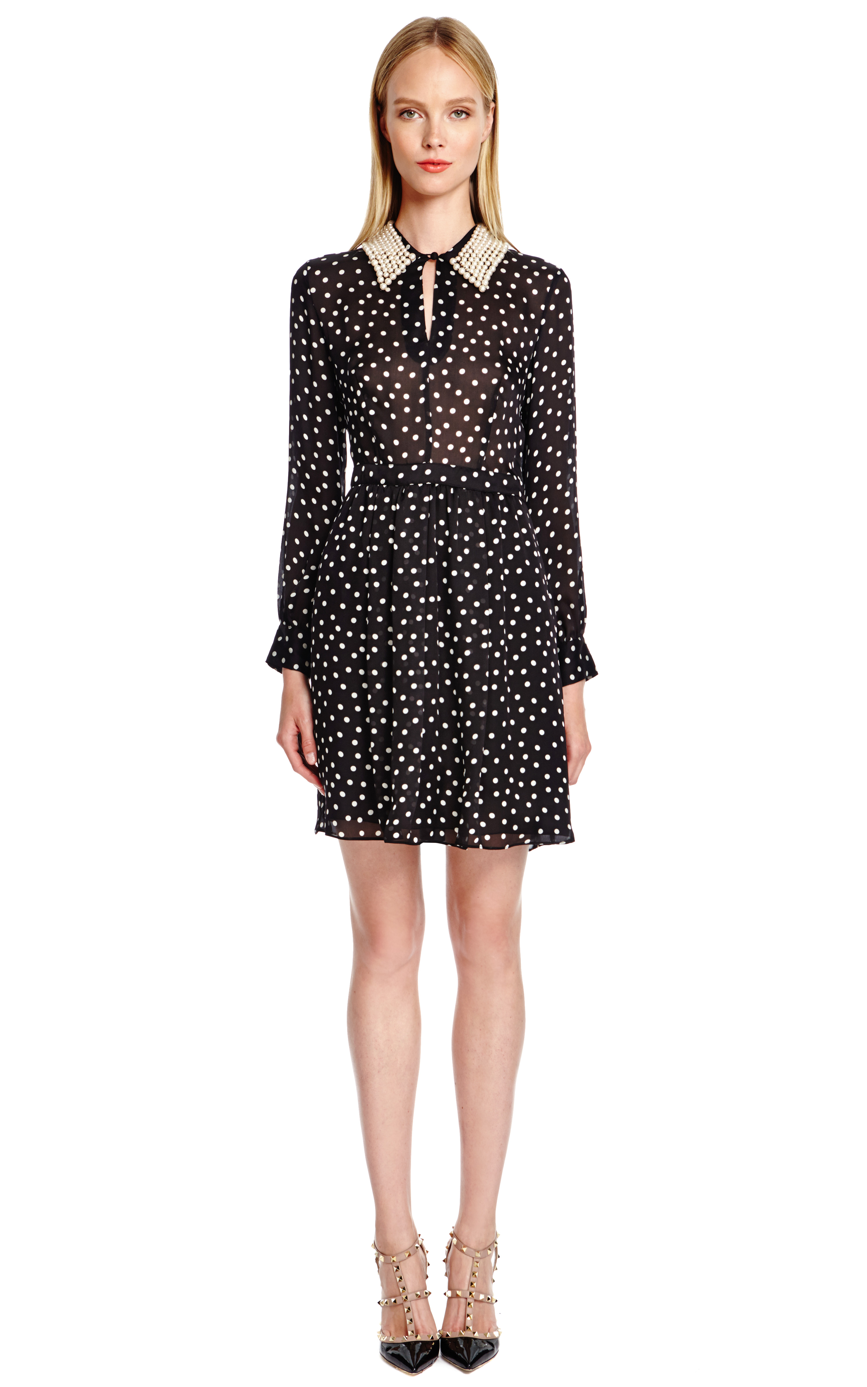 Lyst Boutique Moschino Polka Dot Silk Dress With