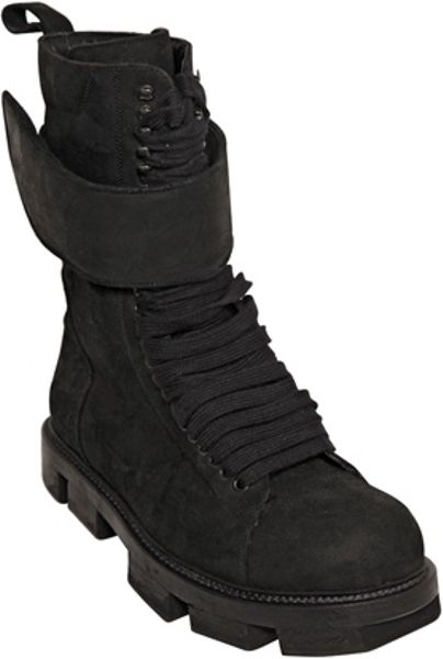 Rick Owens Soft Leather Belted Hiking Boots In Black For