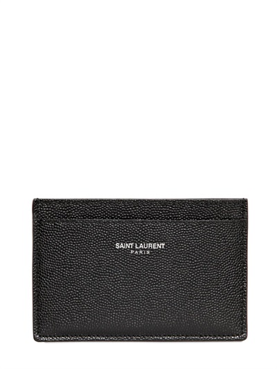 Saint Laurent Saffiano Leather Credit Card Holder in Black ...