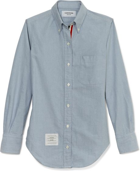 Thom browne pc shirt in blue oxford in blue lyst for Thom browne shirt sale