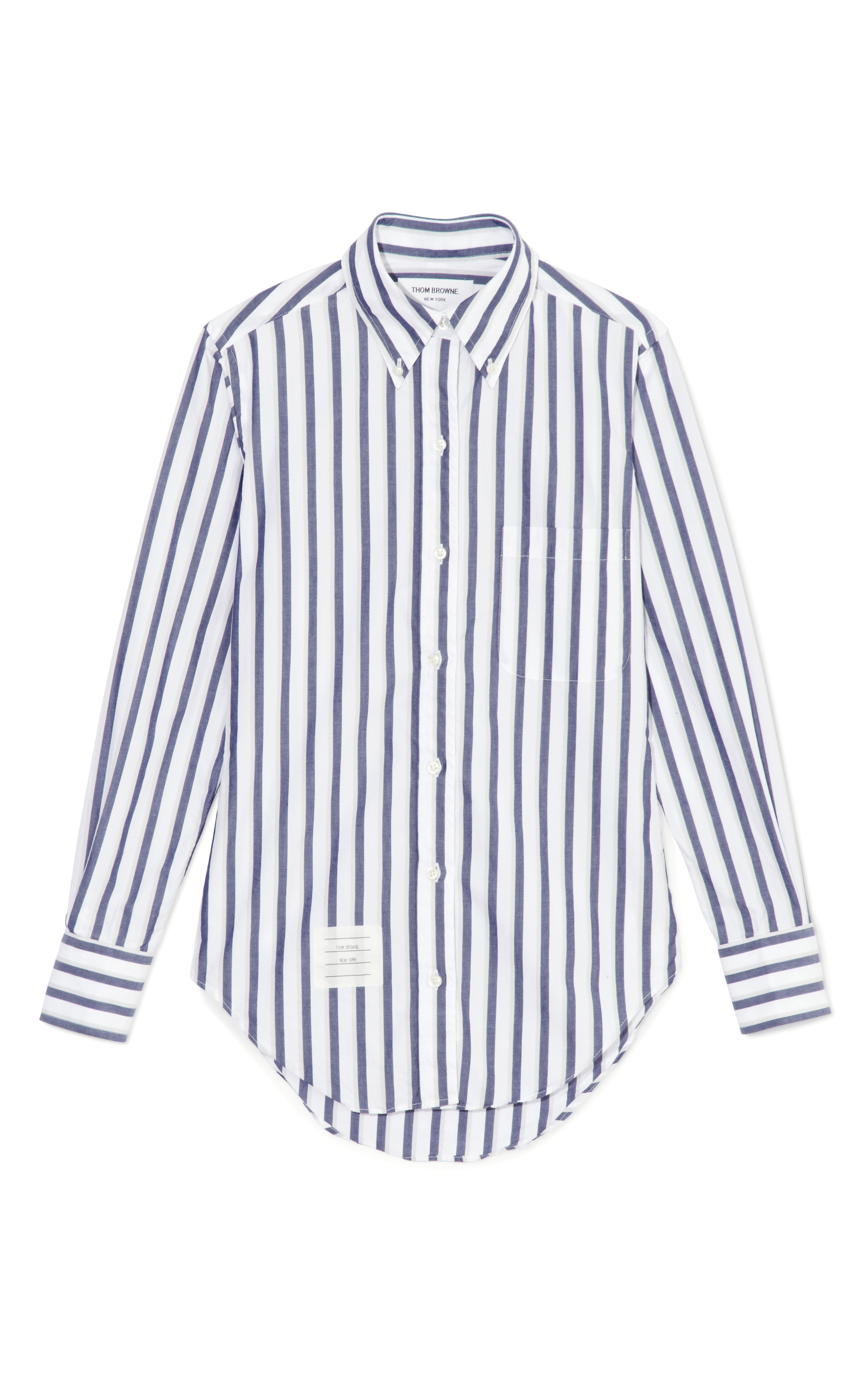 Lyst thom browne classic shirt in thick stripe poplin in for Thom browne white shirt