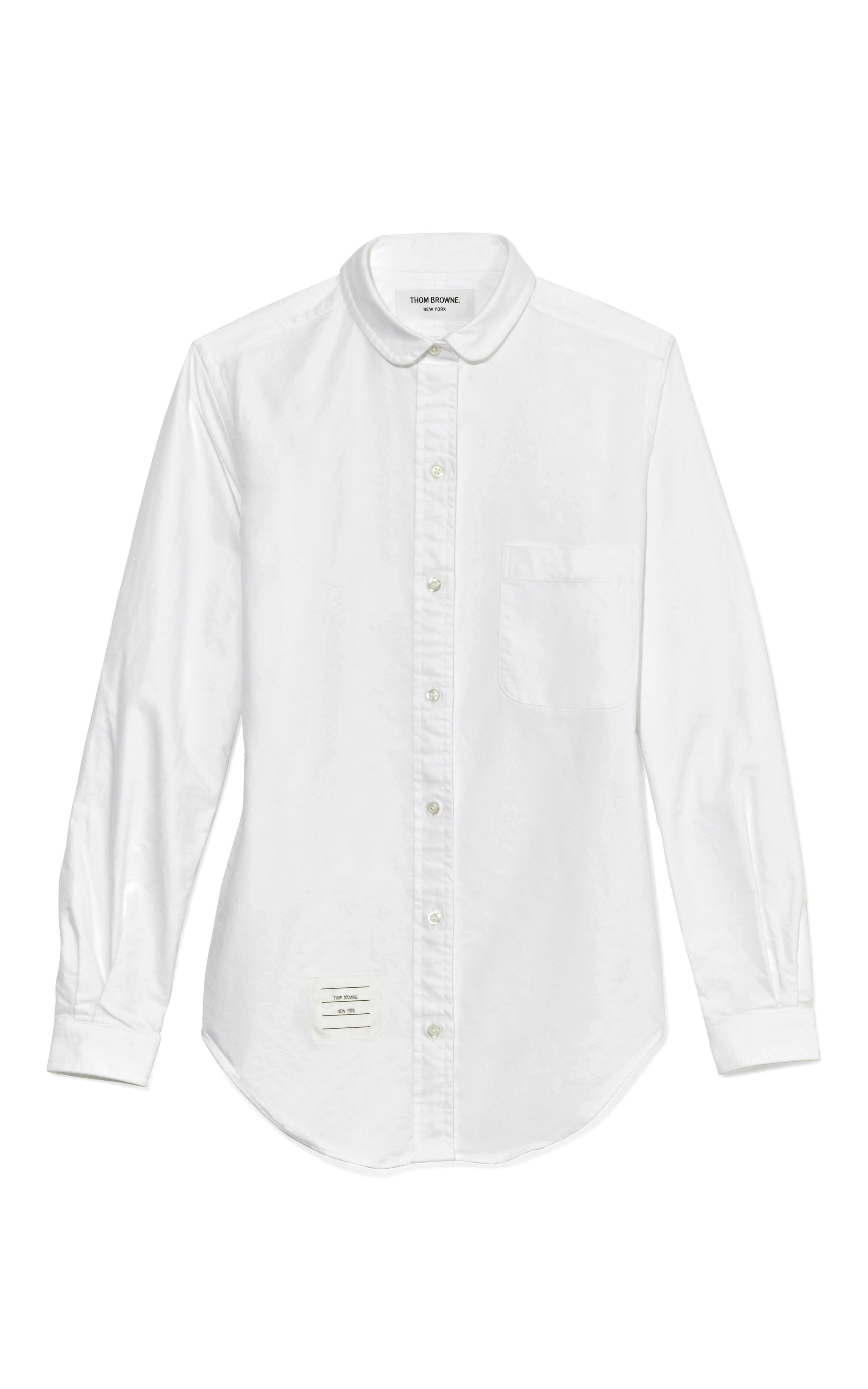 Thom Browne White Oxford Shirt With Half Round Collar In
