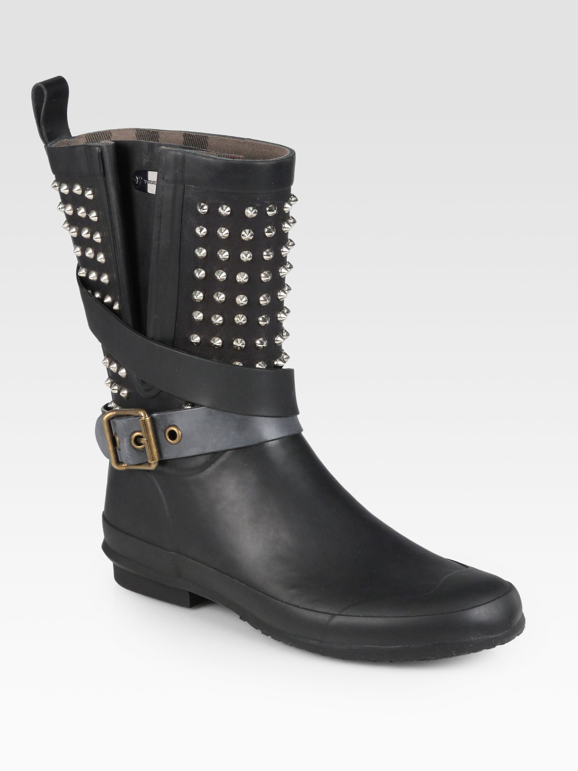 Lyst Burberry Holloway Studded Rubber Rain Boots In Black