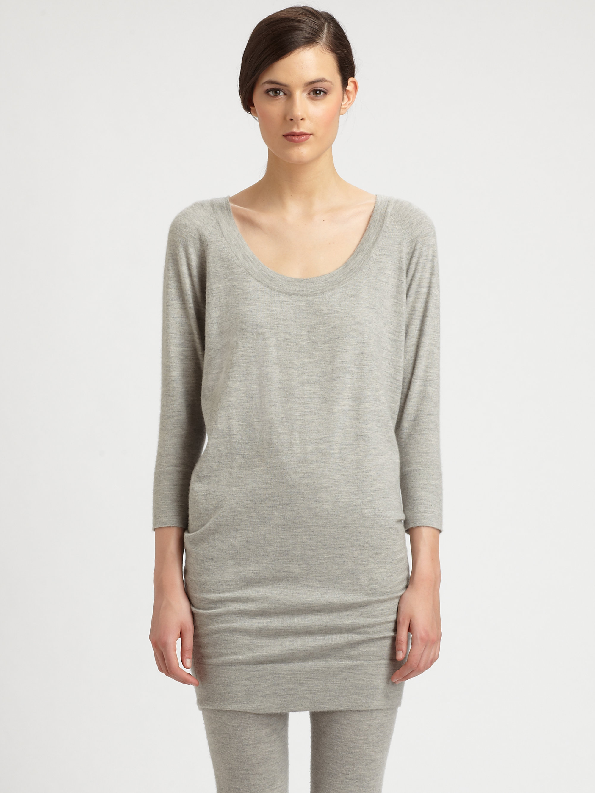 Donna karan new york cashmere dolmansleeved tunic in gray for Donna karen new york