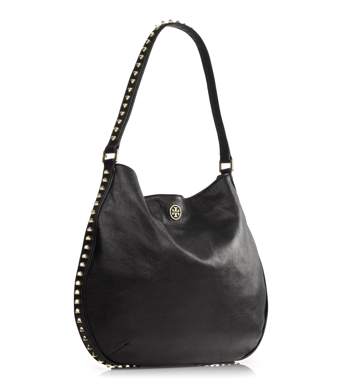 9a377e9270d3 Lyst - Tory Burch Pyramid Stud Hobo in Black