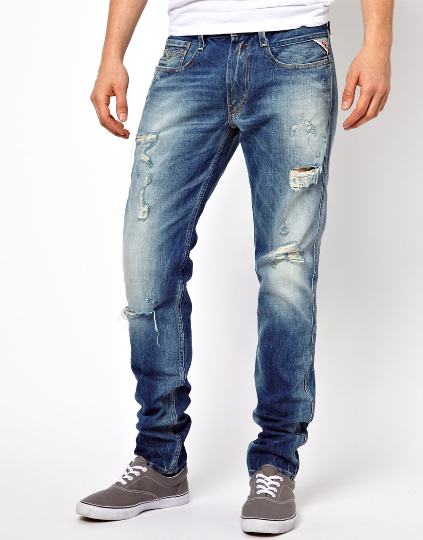 Lyst - Replay Jeans Anbass Slim Ripped Denim in Blue for Men