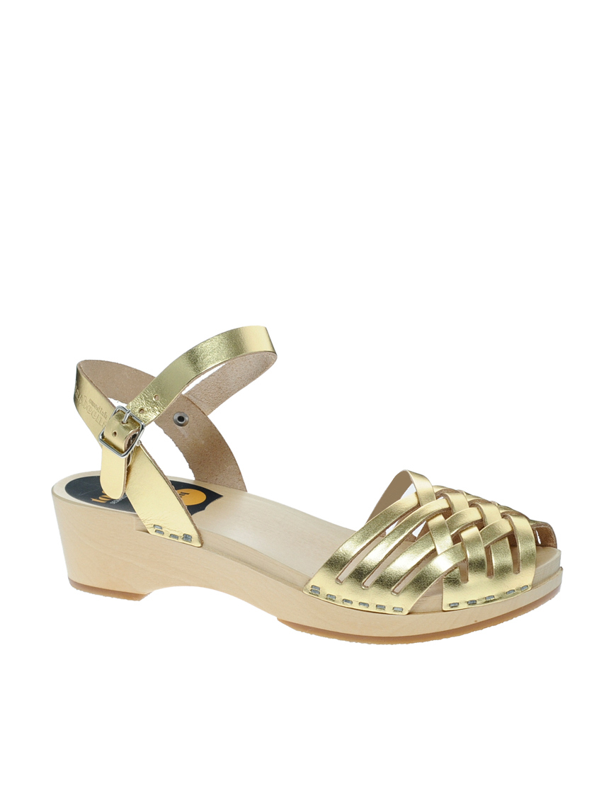 Lyst Swedish Hasbeens Braided Gold Low Wedge Sandals In