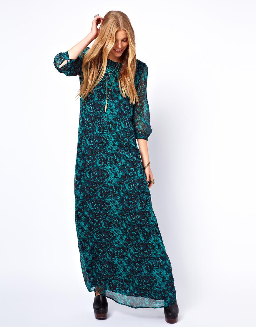 Winter Kate Crinkle Silk Chiffon Maxi Dress In Green Lyst