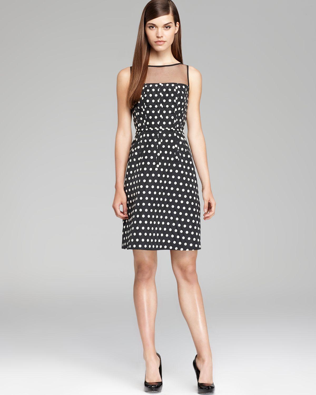 Adrianna Papell Polka Dot Fit And Flare Dress Sleeveless