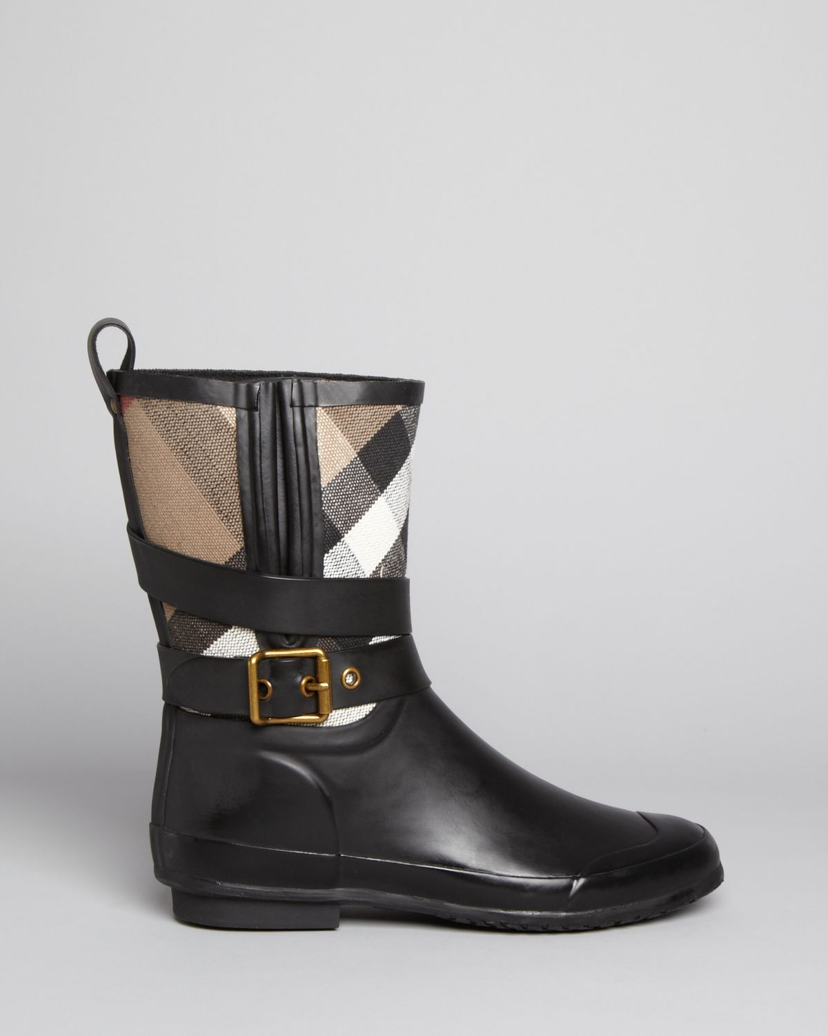 burberry boots holloway mid buckle check in black