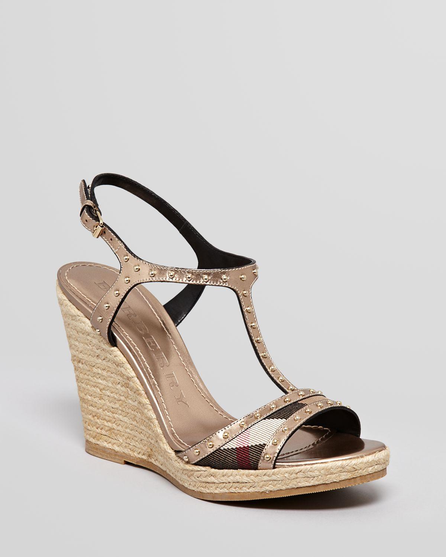 Burberry Espadrille Platform Wedge Sandals Laleham Studded