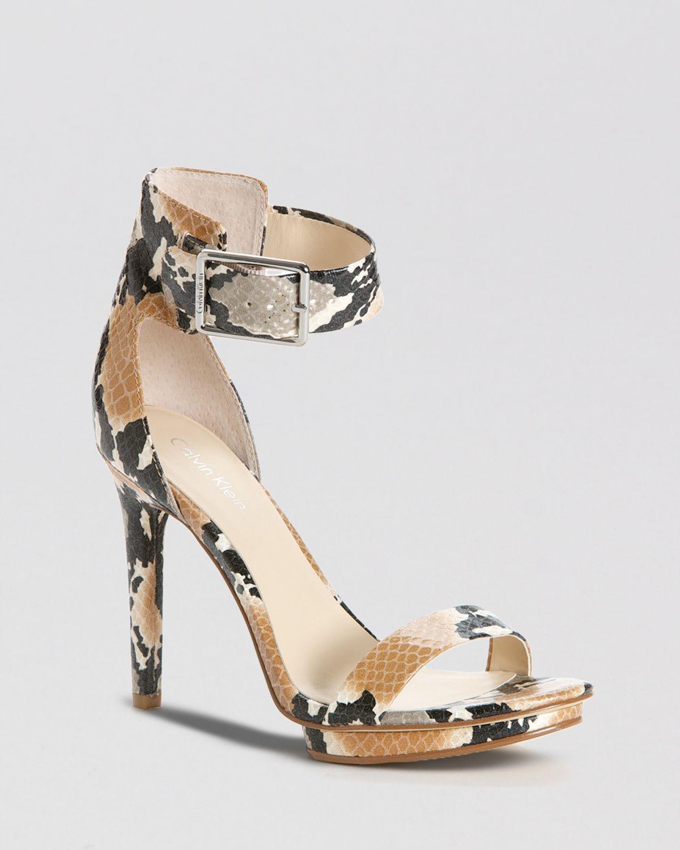 e1fab354b880 Lyst - Calvin Klein Open Toe Platform Sandals Vivian High Heel in Brown