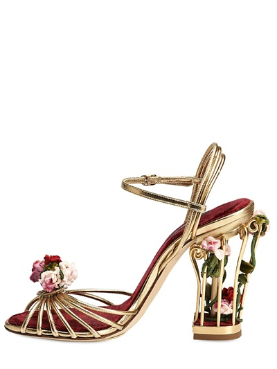 96ea9fc0bb6 Lyst - Dolce   Gabbana 105mm Rose Calf Leather Cage Sandals