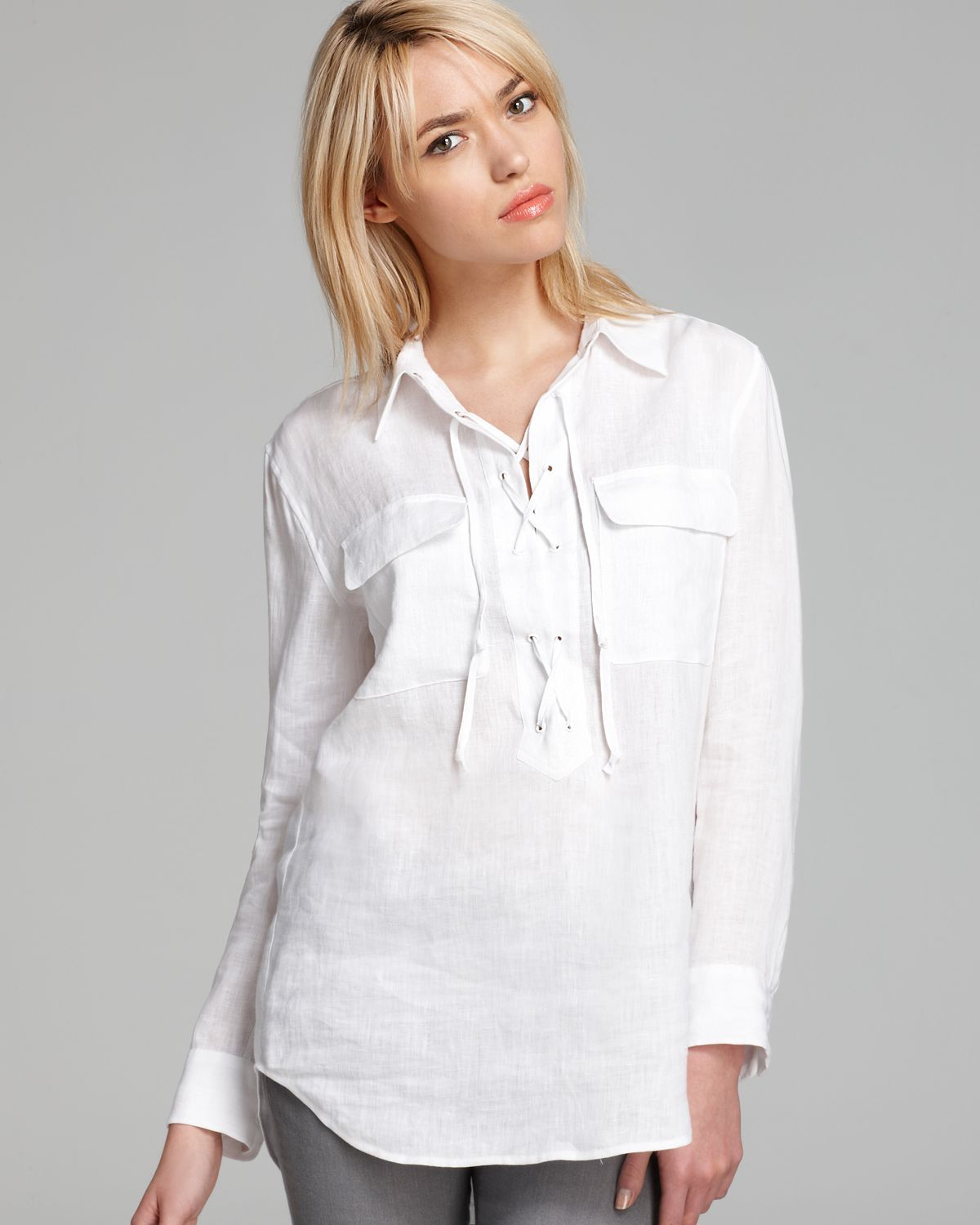 acf1237ab768a Lyst - Equipment Blouse Knox in White