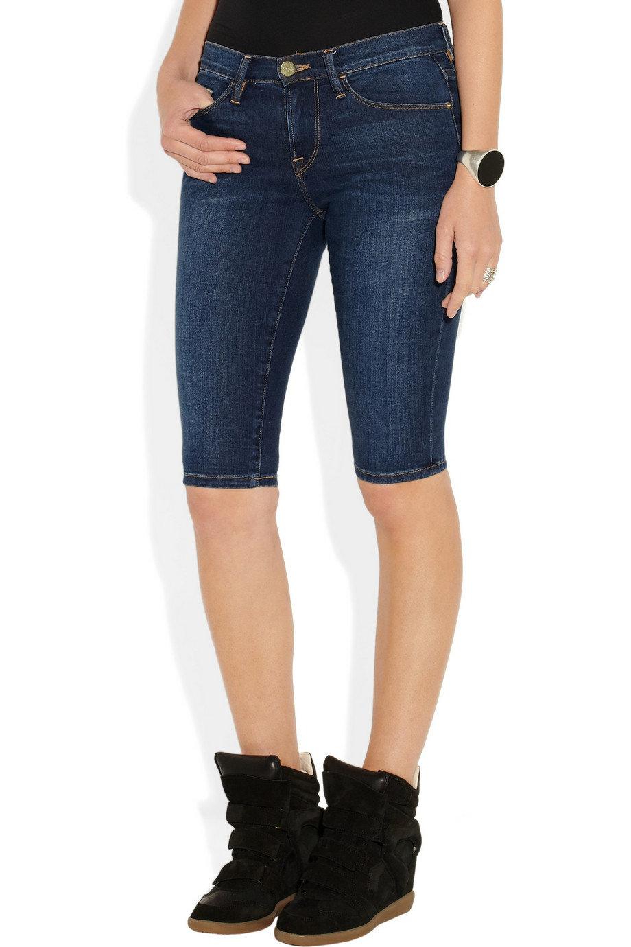 Lyst - Frame Le Skinny De Jeanne Stretch Denim Bermuda Shorts in Blue