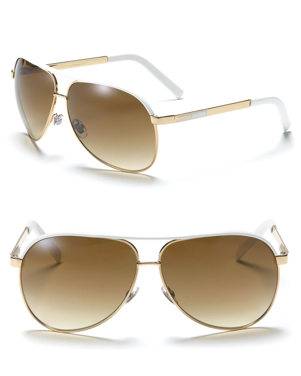 dcaf761cd2414 Gucci Aviator Goldwhite Sunglasses with Top Bar in Metallic - Lyst