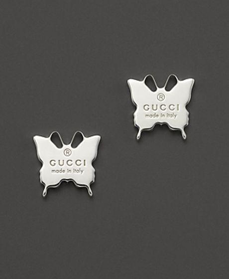 Gucci Sterling Silver Butterfly Stud Earrings In Silver