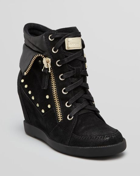 guess wedge sneakers hitzo in black lyst