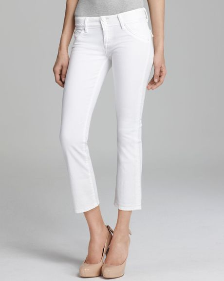 Womens White Cropped Jeans - Jon Jean