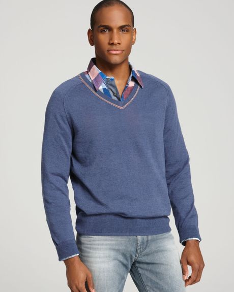 hugo boss boss orange kandres v neck sweater in blue for men navy. Black Bedroom Furniture Sets. Home Design Ideas
