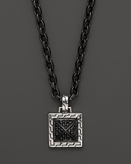 John Hardy Mens Sterling Silver Lava Pendant Necklace with Black Sapphire 22
