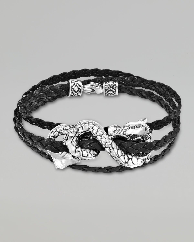 John Hardy Naga Black Leather Triple Wrap Dragon Bracelet