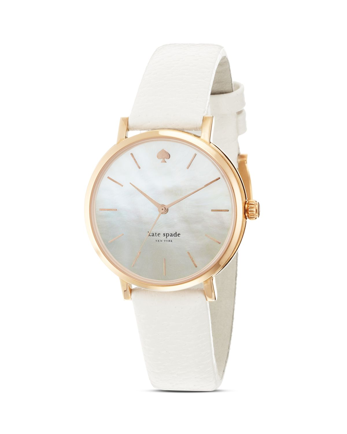 lyst kate spade new york rose gold metro strap watch 34mm in white. Black Bedroom Furniture Sets. Home Design Ideas