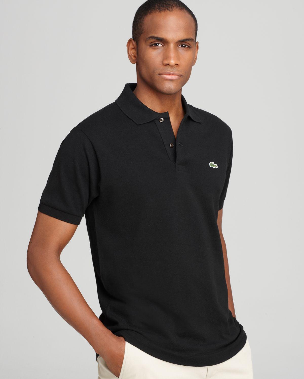lacoste short sleeve piqu polo shirt classic fit in black for men. Black Bedroom Furniture Sets. Home Design Ideas