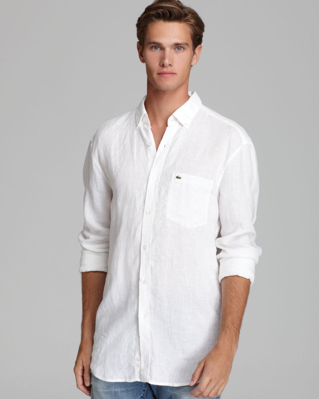 ca136895 Lacoste White Linen Sport Shirt Classic Fit for men