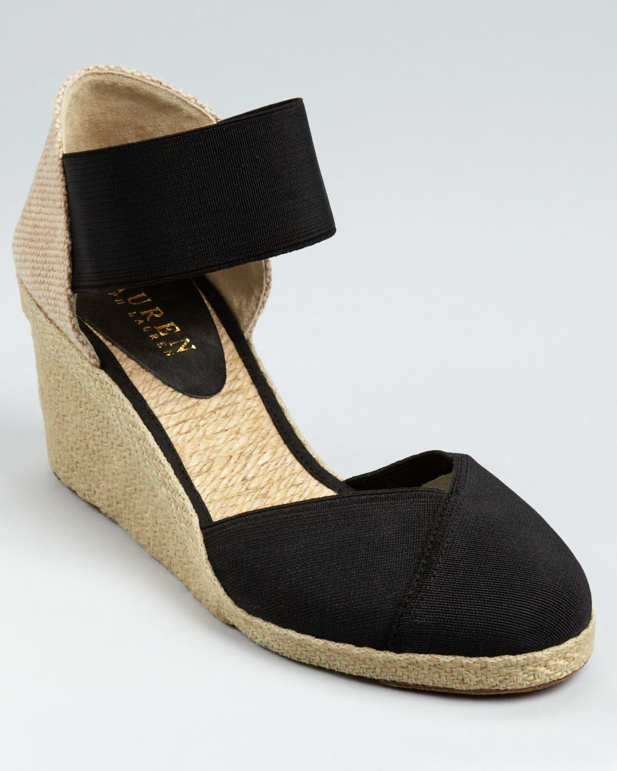 lauren by ralph lauren espadrilles charla wedge in black lyst. Black Bedroom Furniture Sets. Home Design Ideas