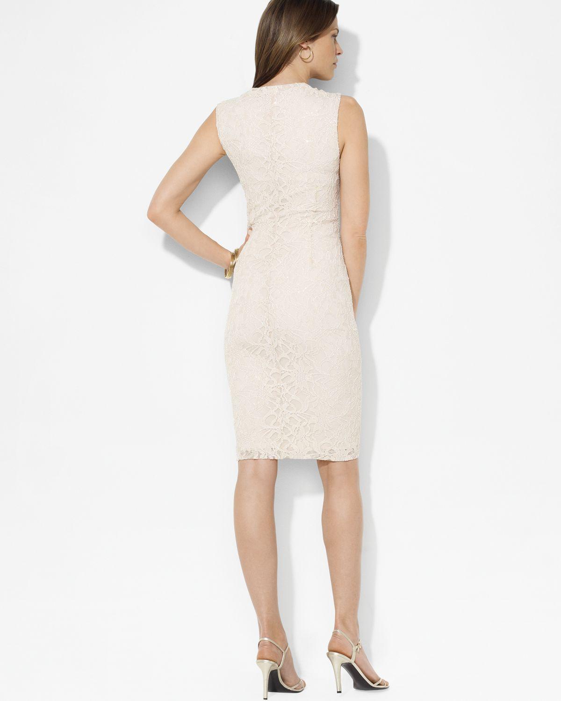 4f7807157d59 Lauren by Ralph Lauren Sequined Lace Shirred Surplice Dress in ...