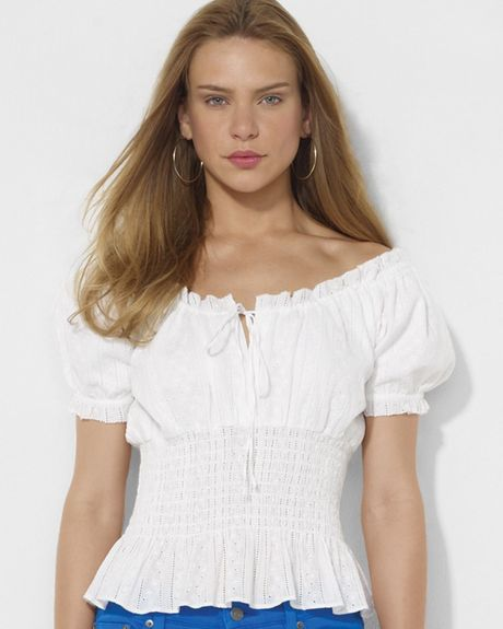 Lauren By Ralph Lauren Smocked Eyelet Cotton Top in White