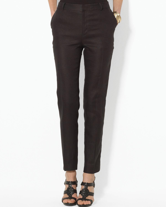 Lauren by ralph lauren Linen Ankle Pants in Black | Lyst
