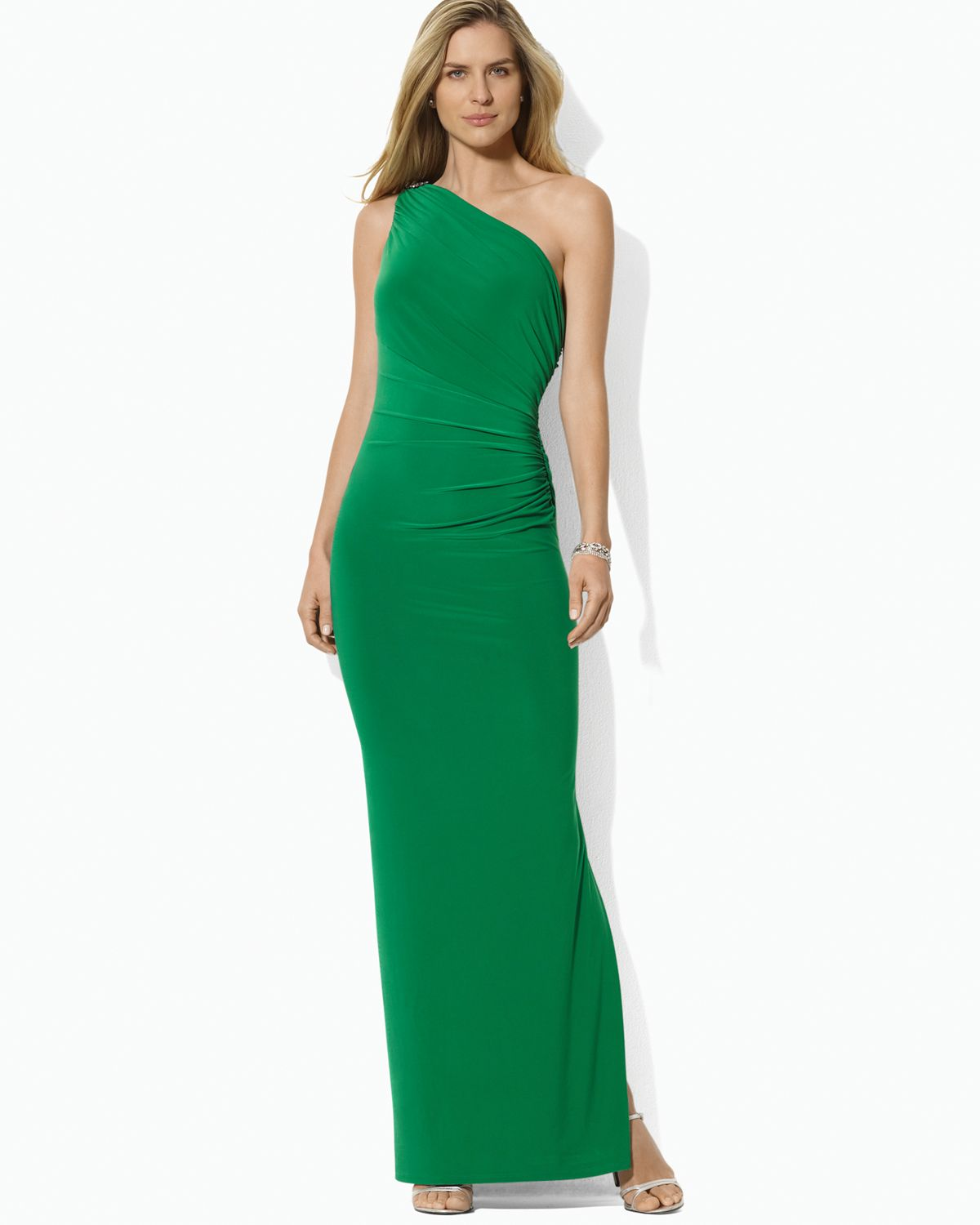 83af761e75 Ralph Lauren Green One Shoulder Gown with Pin