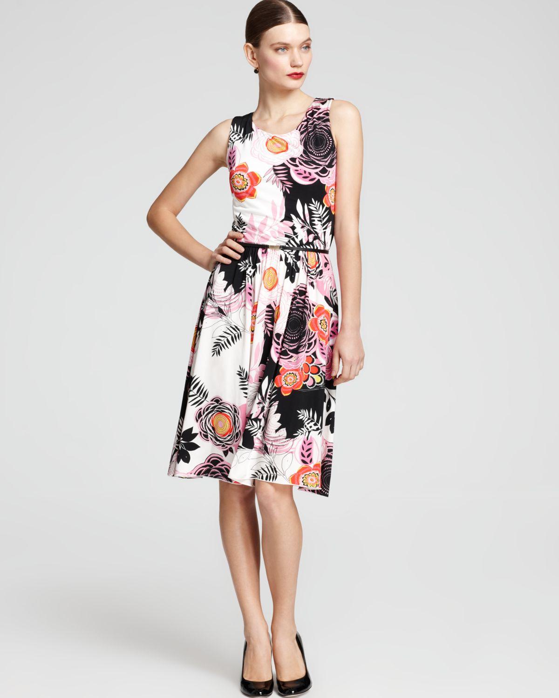 max mara studio foggia jersey print dress in pink optical. Black Bedroom Furniture Sets. Home Design Ideas