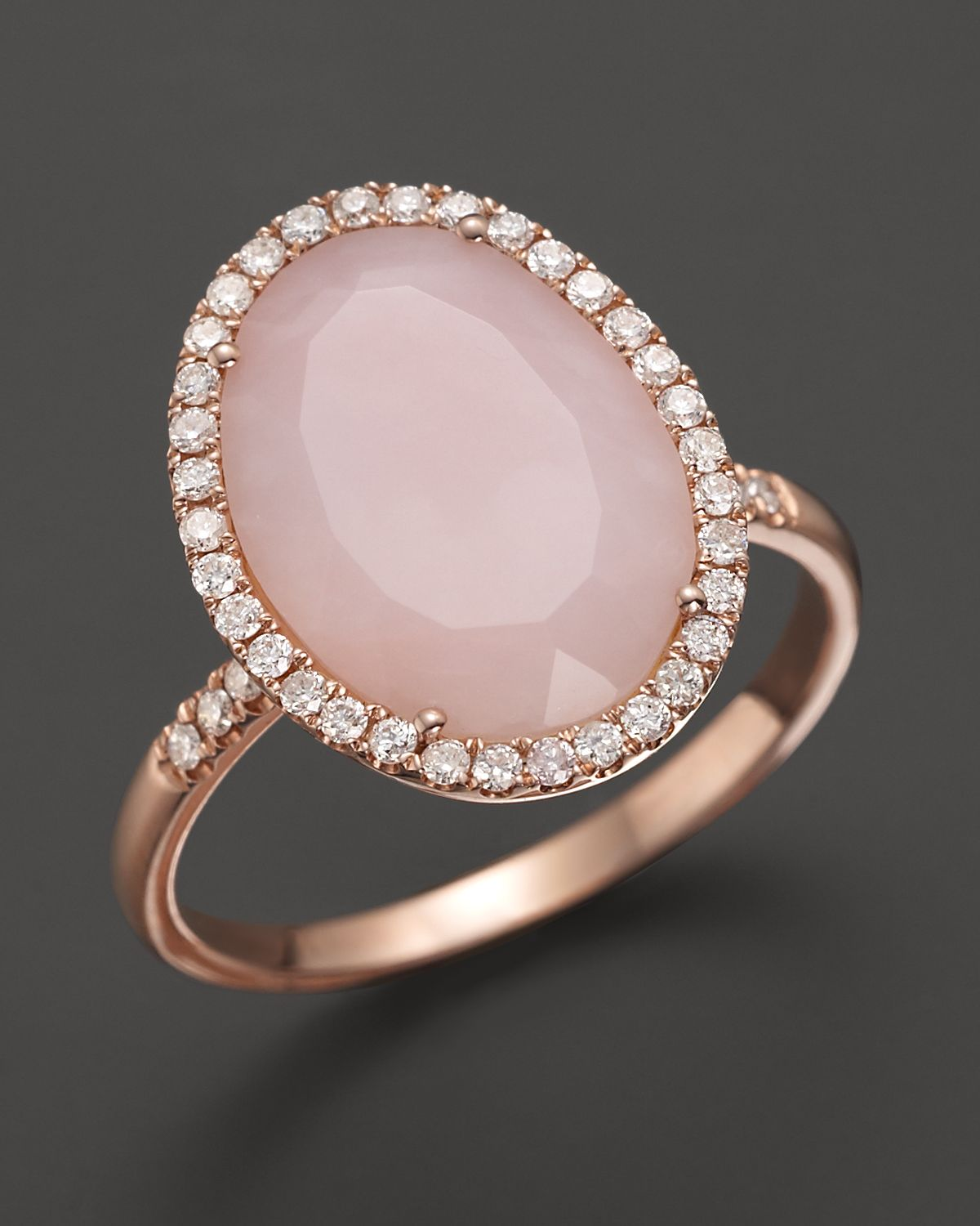 Lyst Meira T Pink Opal Rose Gold And Diamonds Ring In