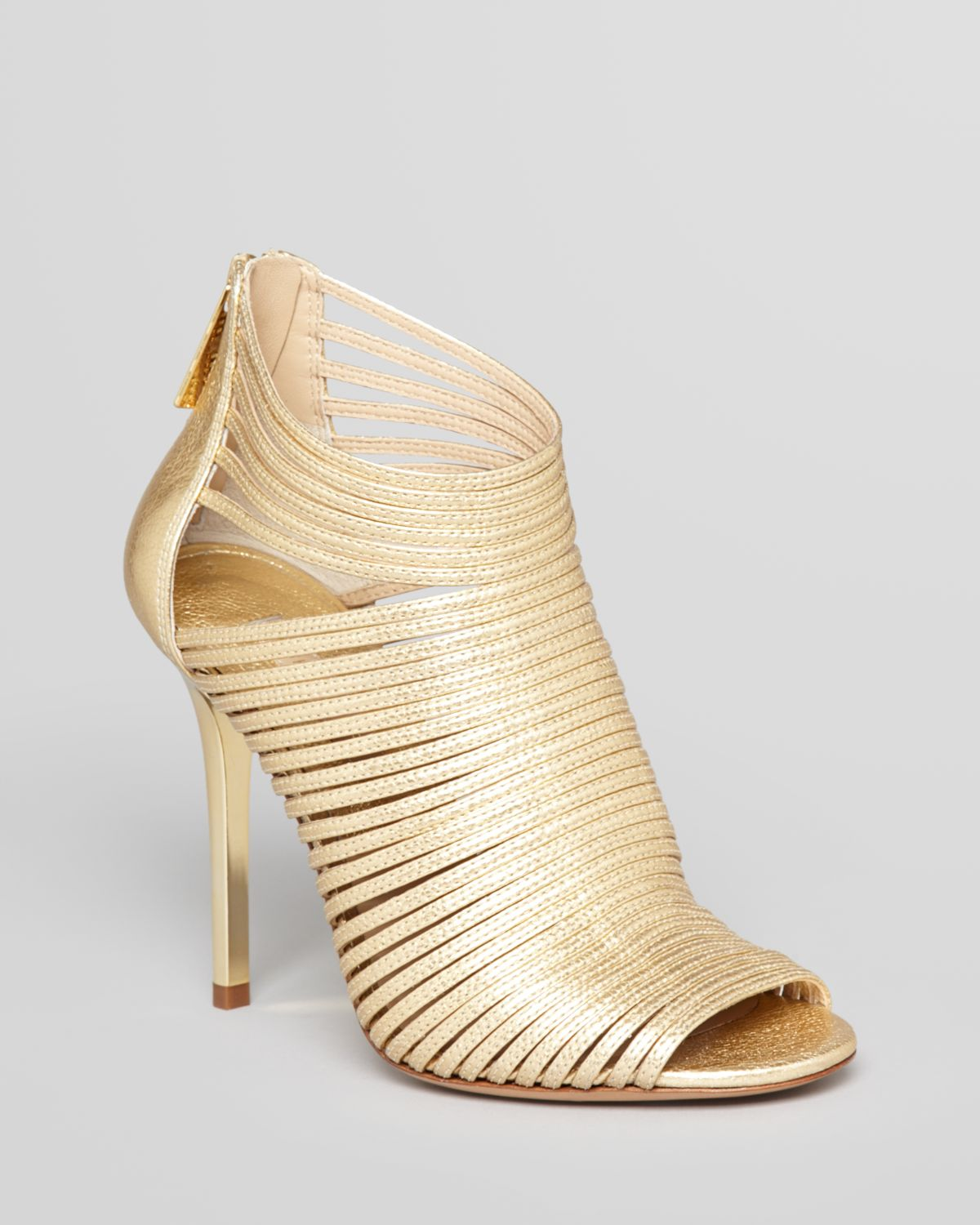 Michael kors Sandals - Maxi Strappy High Heel in Metallic | Lyst