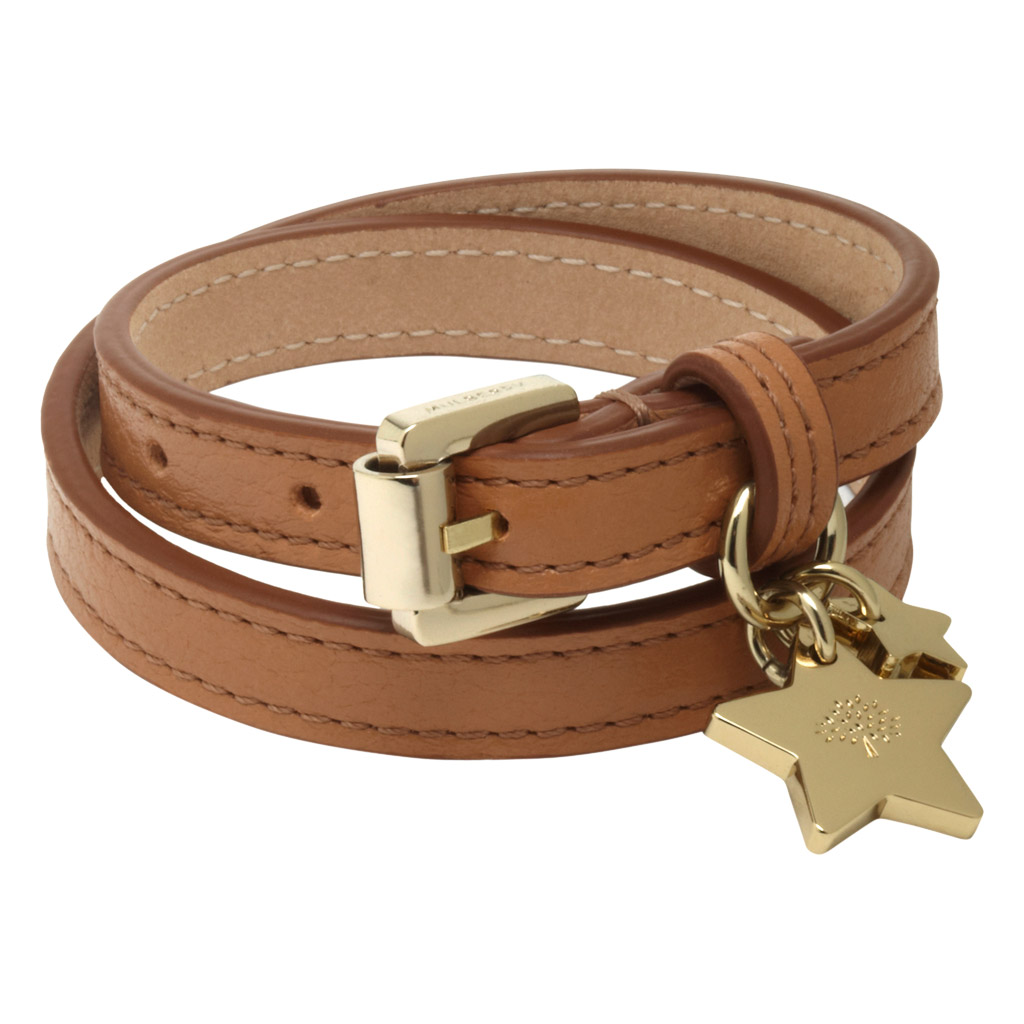 Leather Wrap Charm Bracelet: Mulberry Double Wrap Star Charm Bracelet In Brown