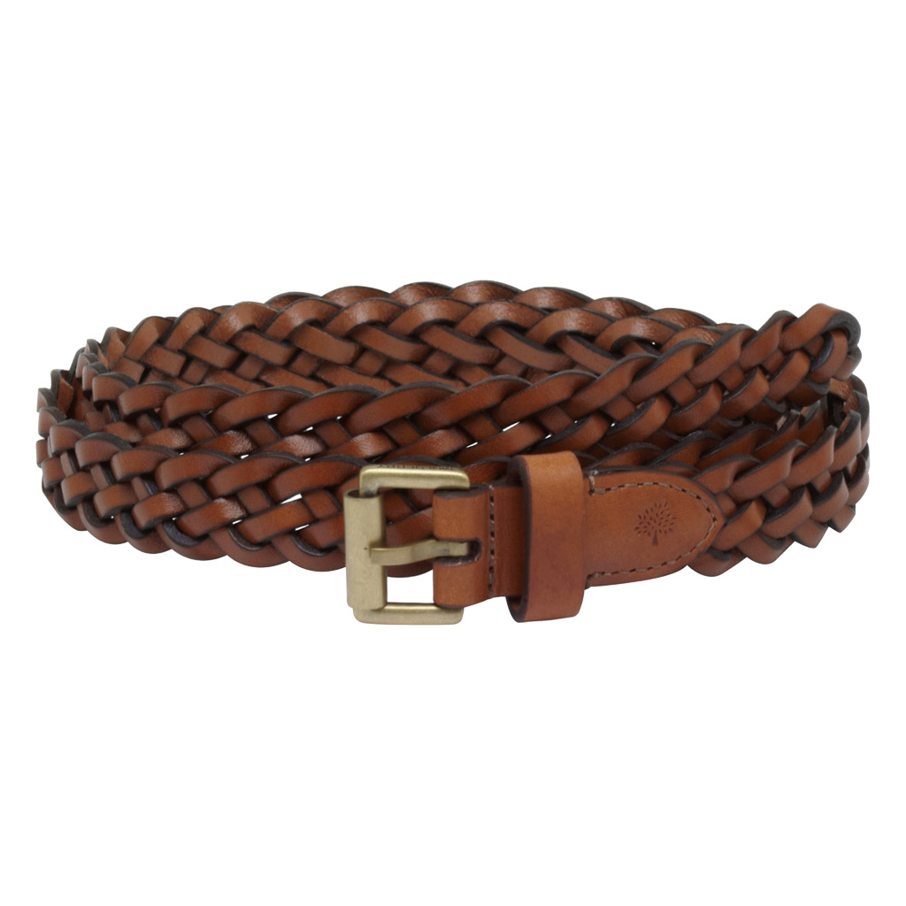 mulberry unisex thin plaited belt in brown for oak